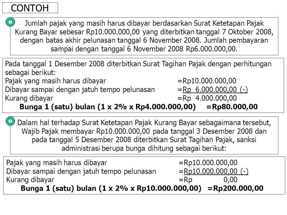 CONTOH Jumlah pajak yang masih harus dibayar berdasarkan Surat Ketetapan Pajak Kurang Bayar sebesar Rp10.000.000,00 yang diterbitkan tanggal 7 Oktober