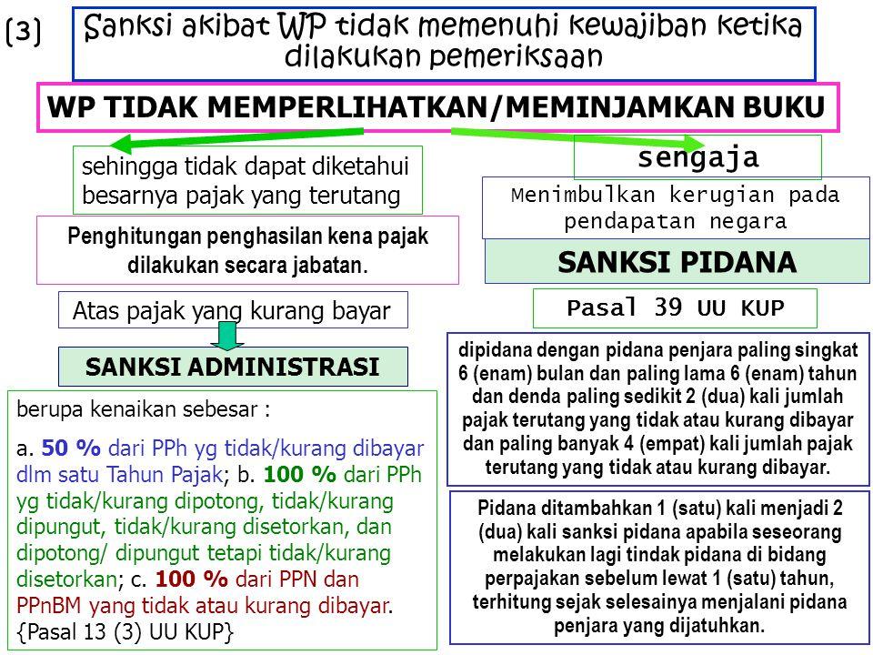 Sanksi akibat WP tidak memenuhi kewajiban ketika dilakukan pemeriksaan WP TIDAK MEMPERLIHATKAN/MEMINJAMKAN BUKU sehingga tidak dapat diketahui besarny