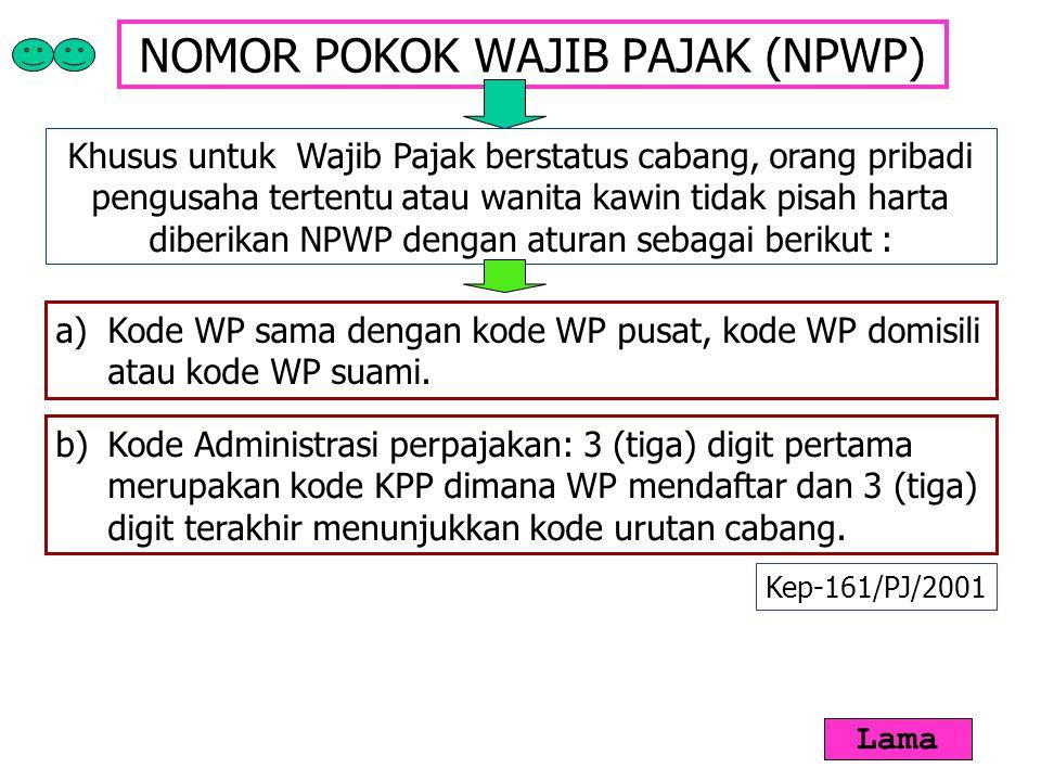 NOMOR POKOK WAJIB PAJAK (NPWP) Khusus untuk Wajib Pajak berstatus cabang, orang pribadi pengusaha tertentu atau wanita kawin tidak pisah harta diberik