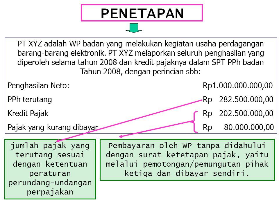 PENETAPAN PT XYZ adalah WP badan yang melakukan kegiatan usaha perdagangan barang-barang elektronik. PT XYZ melaporkan seluruh penghasilan yang dipero