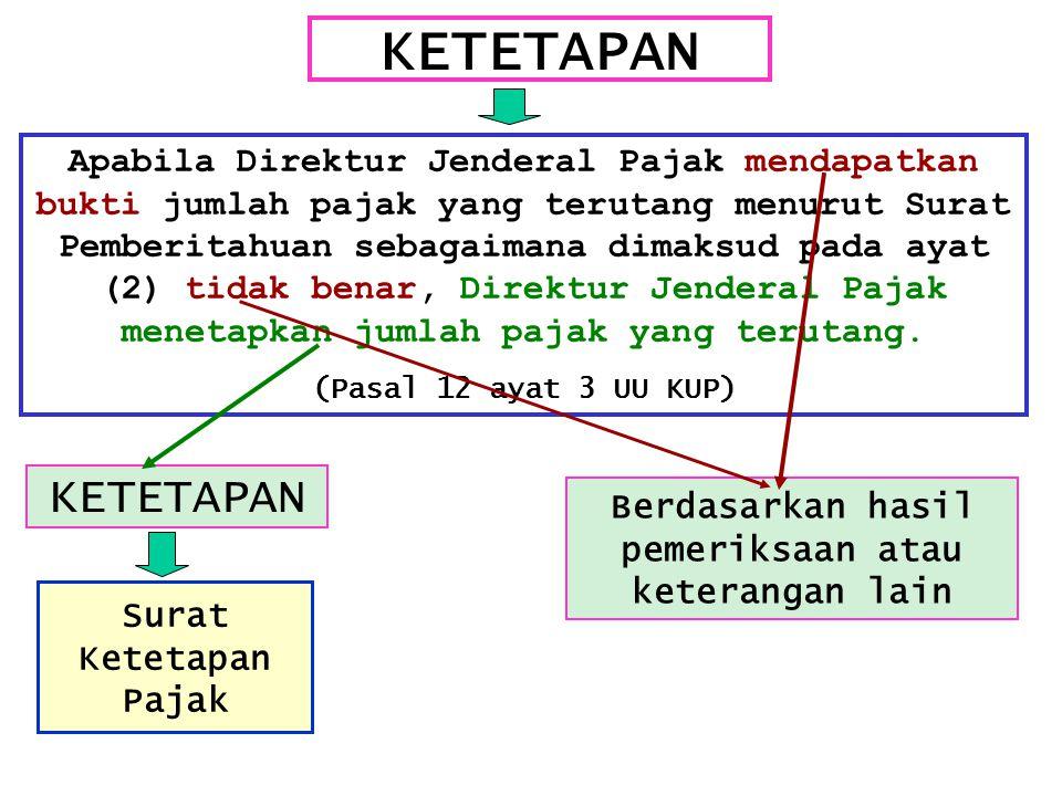 KETETAPAN Apabila Direktur Jenderal Pajak mendapatkan bukti jumlah pajak yang terutang menurut Surat Pemberitahuan sebagaimana dimaksud pada ayat (2)