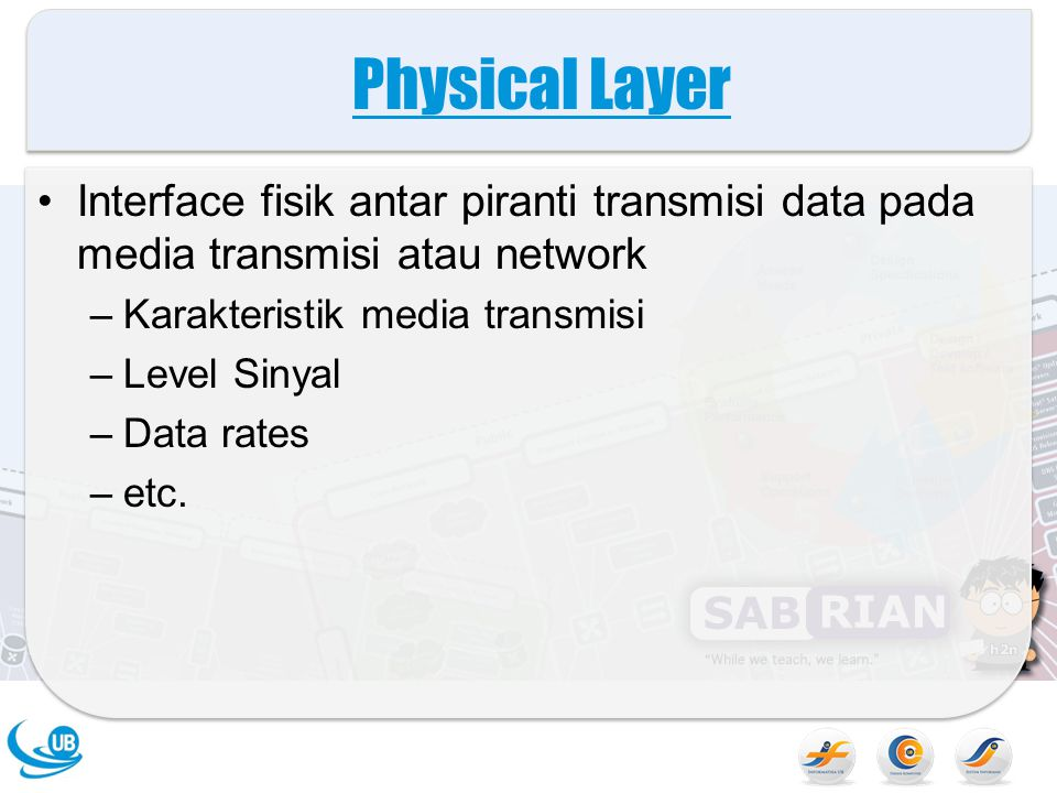 Physical Layer Interface fisik antar piranti transmisi data pada media transmisi atau network –Karakteristik media transmisi –Level Sinyal –Data rates