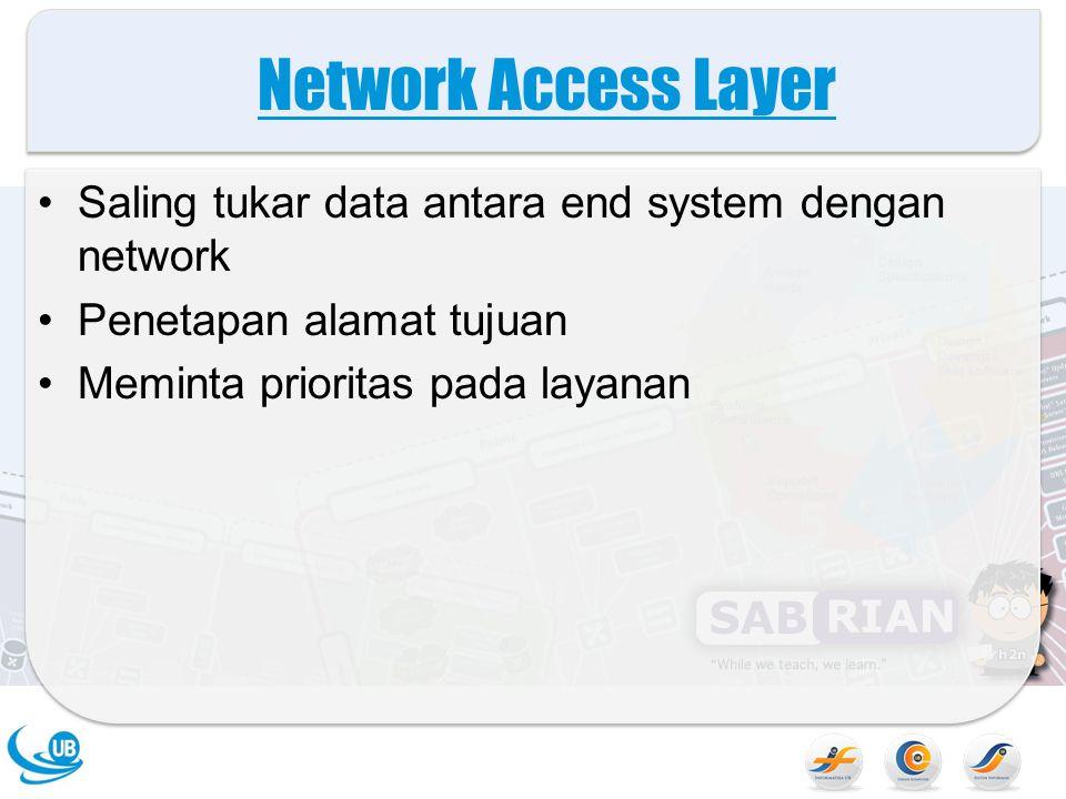 Internet Layer (IP) Sistem kemungikan terpasang pada network yang berbeda Fungsi routing Diimplementasikan pada end system dan router
