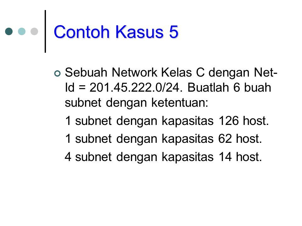 Contoh Kasus 5 Sebuah Network Kelas C dengan Net- Id = 201.45.222.0/24. Buatlah 6 buah subnet dengan ketentuan: 1 subnet dengan kapasitas 126 host. 1