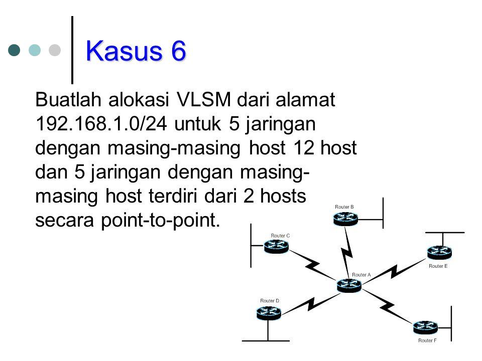 Kasus 6 Buatlah alokasi VLSM dari alamat 192.168.1.0/24 untuk 5 jaringan dengan masing-masing host 12 host dan 5 jaringan dengan masing- masing host t