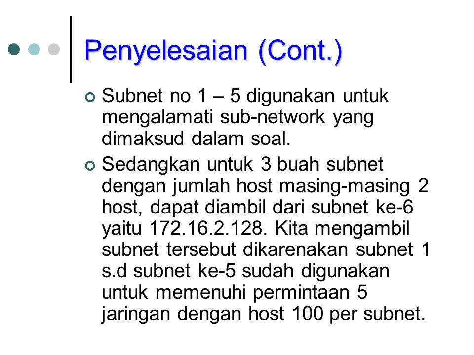 Penyelesaian (Cont.) Subnet no 1 – 5 digunakan untuk mengalamati sub-network yang dimaksud dalam soal. Sedangkan untuk 3 buah subnet dengan jumlah hos