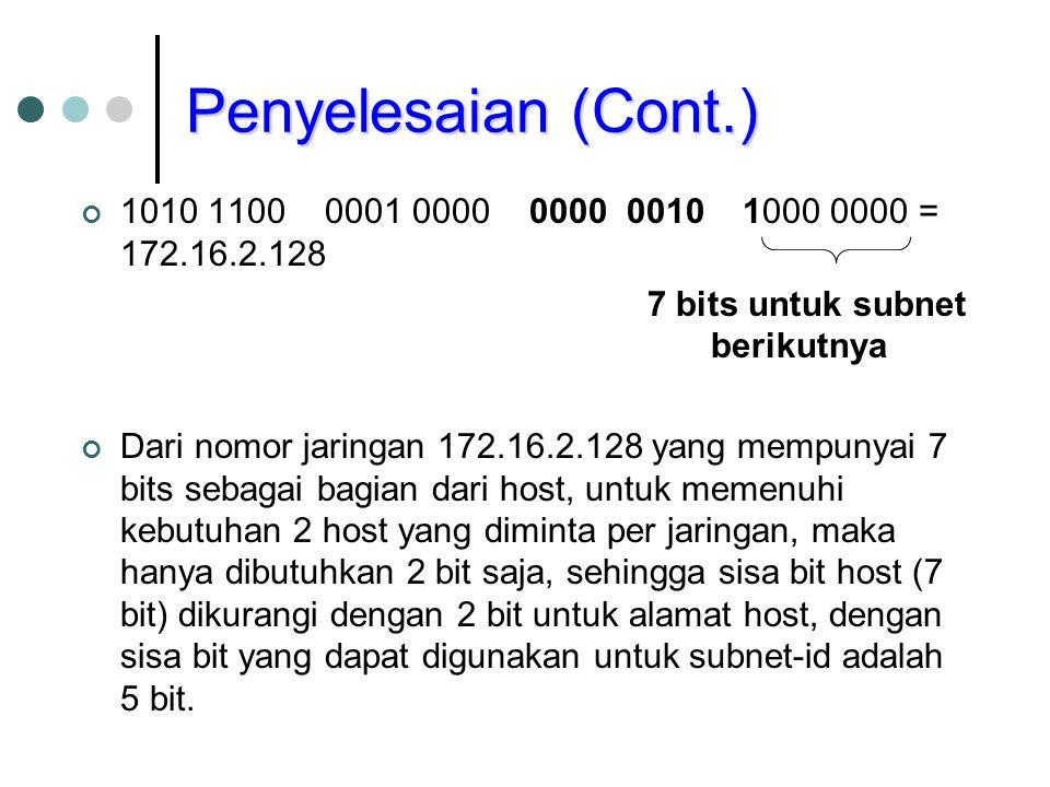 Penyelesaian (Cont.) 1010 1100 0001 0000 0000 0010 1 000 0000 = 172.16.2.128 1010 1100 0001 0000 0000 0010 1 000 0100 = 172.16.2.132 1010 1100 0001 0000 0000 0010 1 000 1000 = 172.16.2.136 Subnet-Id Host-Id