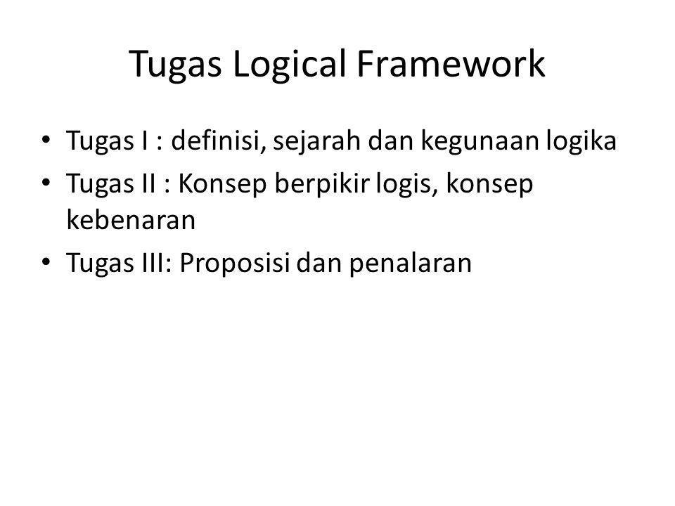 Tugas Logical Framework Tugas I : definisi, sejarah dan kegunaan logika Tugas II : Konsep berpikir logis, konsep kebenaran Tugas III: Proposisi dan penalaran
