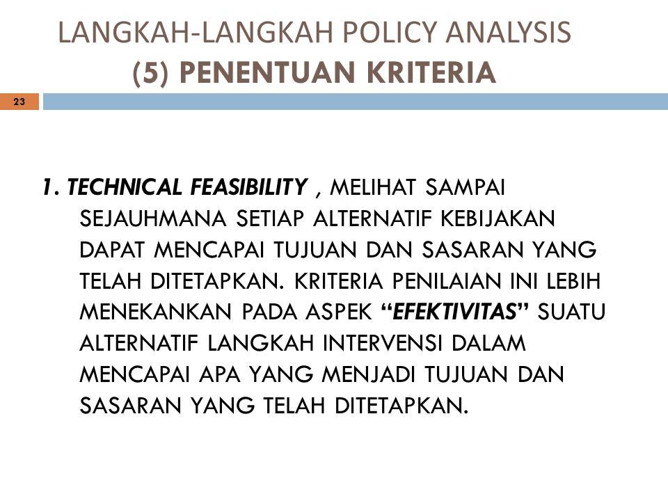 LANGKAH-LANGKAH POLICY ANALYSIS (5) PENENTUAN KRITERIA 23 1. TECHNICAL FEASIBILITY, MELIHAT SAMPAI SEJAUHMANA SETIAP ALTERNATIF KEBIJAKAN DAPAT MENCAP