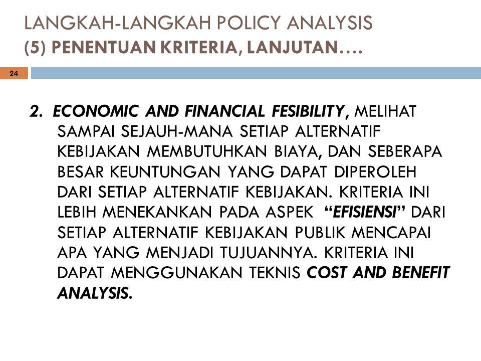 LANGKAH-LANGKAH POLICY ANALYSIS (5) PENENTUAN KRITERIA, LANJUTAN…. 24 2. ECONOMIC AND FINANCIAL FESIBILITY, MELIHAT SAMPAI SEJAUH-MANA SETIAP ALTERNAT