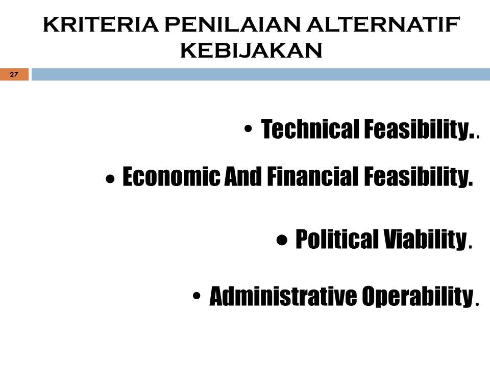 Technical Feasibility..  Economic And Financial Feasibility.  Political Viability. Administrative Operability. KRITERIA PENILAIAN ALTERNATIF KEBIJAK