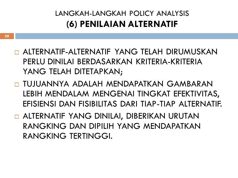 LANGKAH-LANGKAH POLICY ANALYSIS (6) PENILAIAN ALTERNATIF 30 AALTERNATIF-ALTERNATIF YANG TELAH DIRUMUSKAN PERLU DINILAI BERDASARKAN KRITERIA-KRITERIA