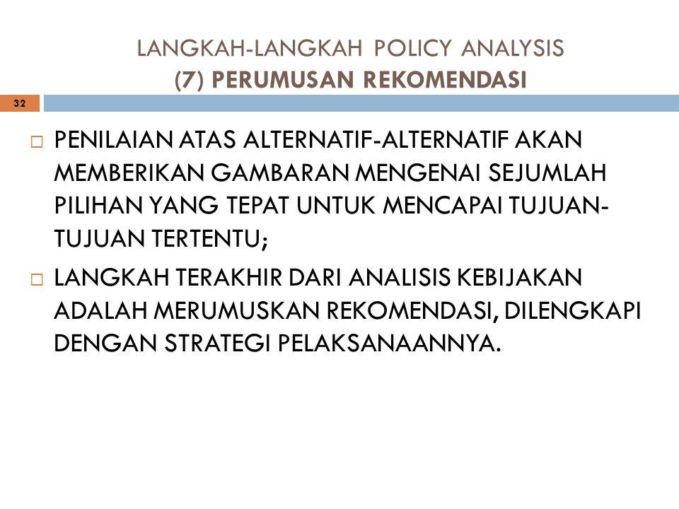 LANGKAH-LANGKAH POLICY ANALYSIS (7) PERUMUSAN REKOMENDASI 32 PPENILAIAN ATAS ALTERNATIF-ALTERNATIF AKAN MEMBERIKAN GAMBARAN MENGENAI SEJUMLAH PILIHA