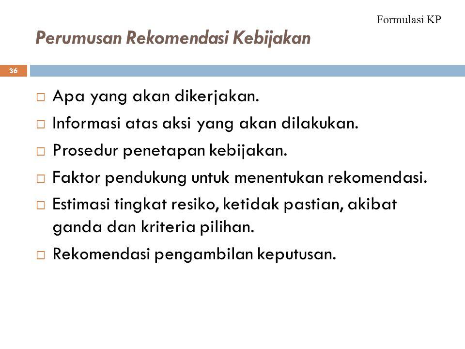 Perumusan Rekomendasi Kebijakan 36  Apa yang akan dikerjakan.  Informasi atas aksi yang akan dilakukan.  Prosedur penetapan kebijakan.  Faktor pen