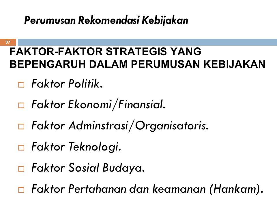 37  Faktor Politik.  Faktor Ekonomi/Finansial.  Faktor Adminstrasi/Organisatoris.  Faktor Teknologi.  Faktor Sosial Budaya.  Faktor Pertahanan d