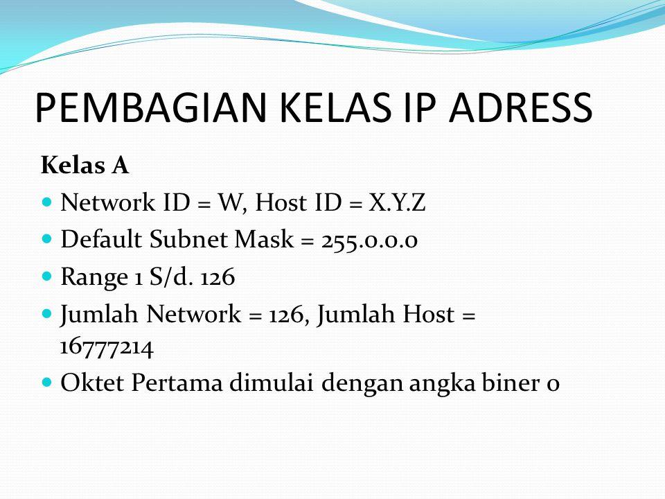 Kelas A Network ID = W, Host ID = X.Y.Z Default Subnet Mask = 255.0.0.0 Range 1 S/d.