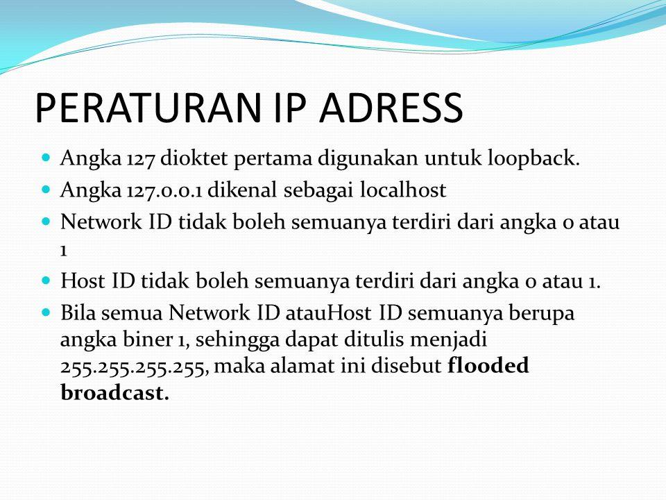 PERATURAN IP ADRESS Angka 127 dioktet pertama digunakan untuk loopback. Angka 127.0.0.1 dikenal sebagai localhost Network ID tidak boleh semuanya terd