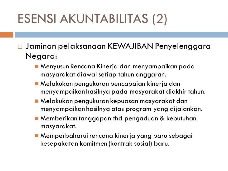 ESENSI LAIN AKUNTABILITAS  Jaminan pemenuhan & penghormatan HAK 2 Publik:  Hak publik untuk membaca dan mendapatkan dokumen resmi ( official document ).