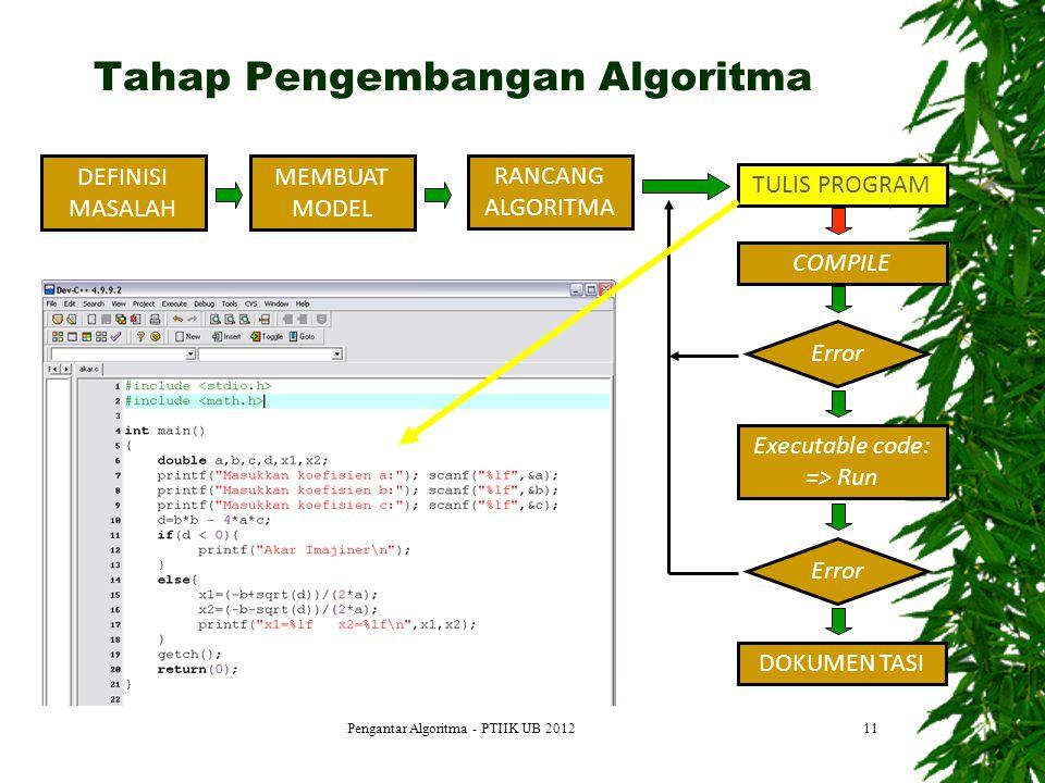 11 DEFINISI MASALAH MEMBUAT MODEL RANCANG ALGORITMA TULIS PROGRAM COMPILE Error Executable code: => Run Error DOKUMEN TASI Tahap Pengembangan Algoritm