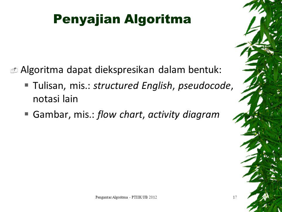 Penyajian Algoritma  Algoritma dapat diekspresikan dalam bentuk:  Tulisan, mis.: structured English, pseudocode, notasi lain  Gambar, mis.: flow ch