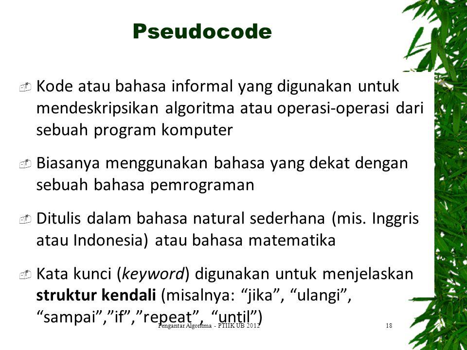  Kode atau bahasa informal yang digunakan untuk mendeskripsikan algoritma atau operasi-operasi dari sebuah program komputer  Biasanya menggunakan ba
