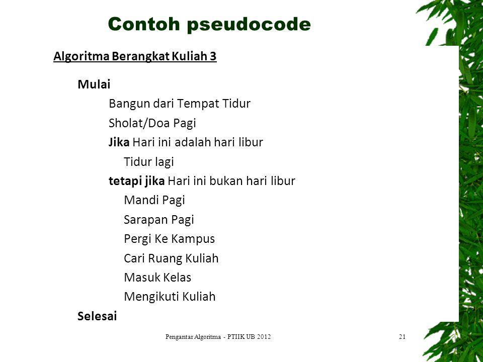 21 Contoh pseudocode Pengantar Algoritma - PTIIK UB 2012 Algoritma Berangkat Kuliah 3 Mulai Bangun dari Tempat Tidur Sholat/Doa Pagi Jika Hari ini ada