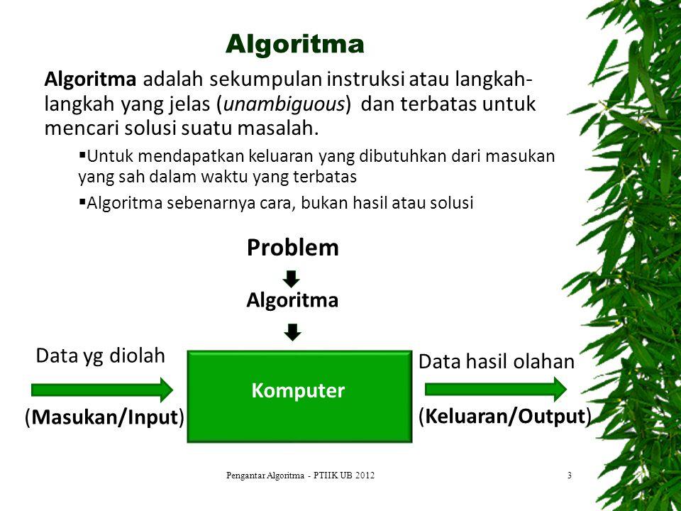 Algoritma Komputer (Keluaran/Output) Problem Algoritma Data yg diolah (Masukan/Input) Data hasil olahan Pengantar Algoritma - PTIIK UB 2012 Algoritma