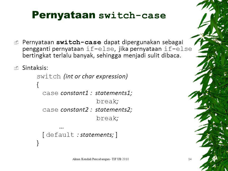  Pernyataan switch-case dapat dipergunakan sebagai pengganti pernyataan if-else, jika pernyataan if-else bertingkat terlalu banyak, sehingga menjadi