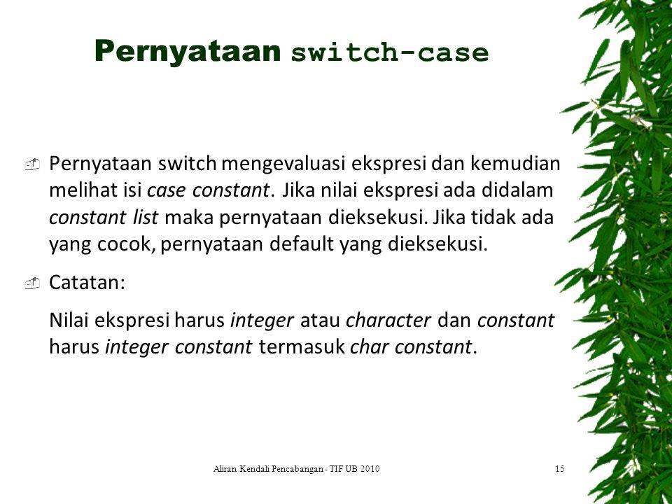  Pernyataan switch mengevaluasi ekspresi dan kemudian melihat isi case constant. Jika nilai ekspresi ada didalam constant list maka pernyataan diekse
