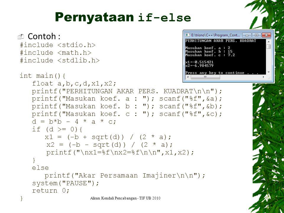  Contoh : 9 #include int main(){ float a,b,c,d,x1,x2; printf(