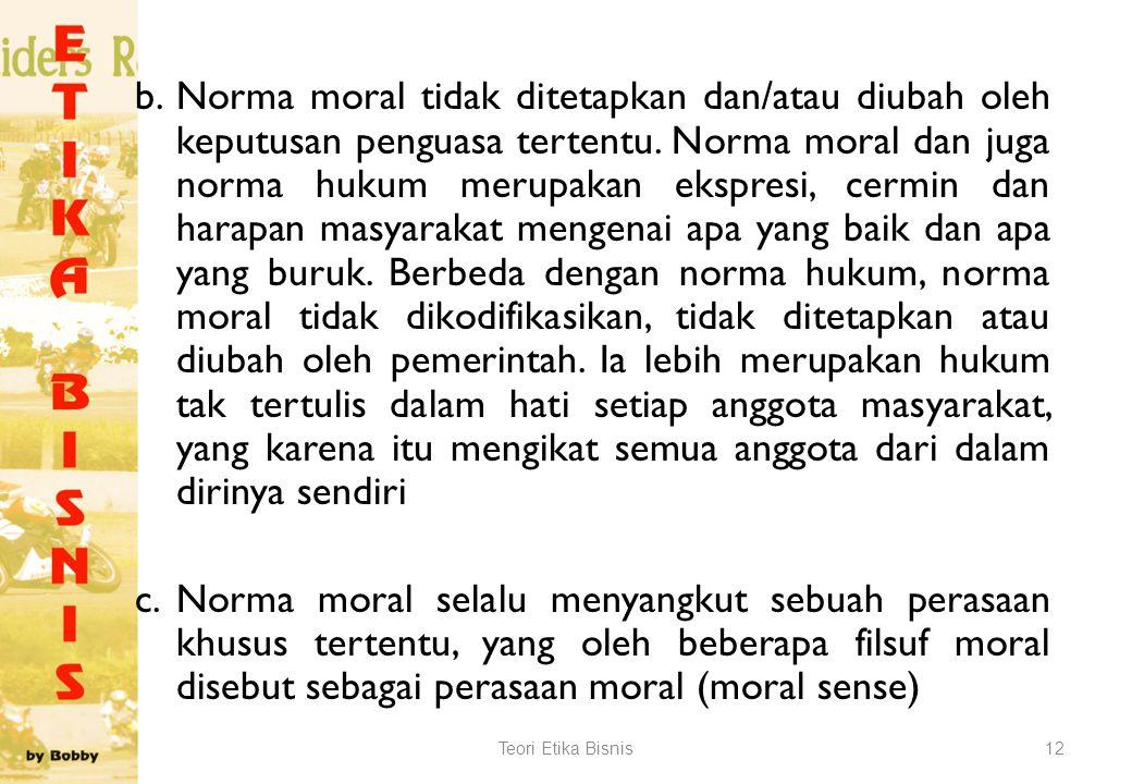 Norma Moral, yaitu aturan mengenai sikap dan perilaku manusia sebagai manusia. Norma moral ini menyangkut aturan tentang baik buruknya, adil tidaknya