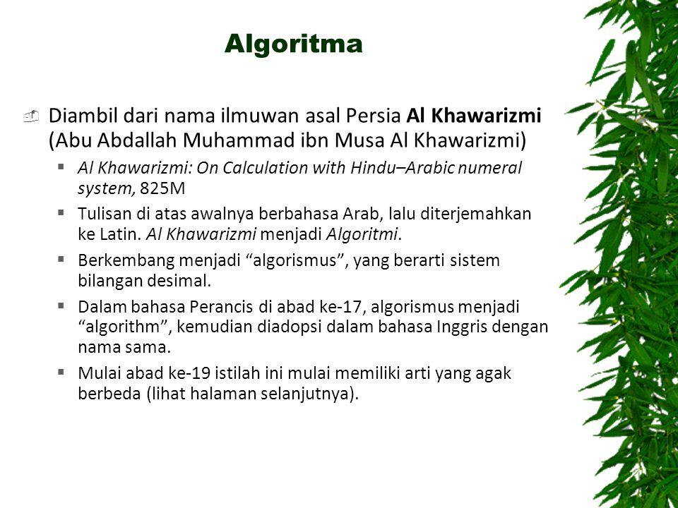Algoritma  Diambil dari nama ilmuwan asal Persia Al Khawarizmi (Abu Abdallah Muhammad ibn Musa Al Khawarizmi)  Al Khawarizmi: On Calculation with Hindu–Arabic numeral system, 825M  Tulisan di atas awalnya berbahasa Arab, lalu diterjemahkan ke Latin.