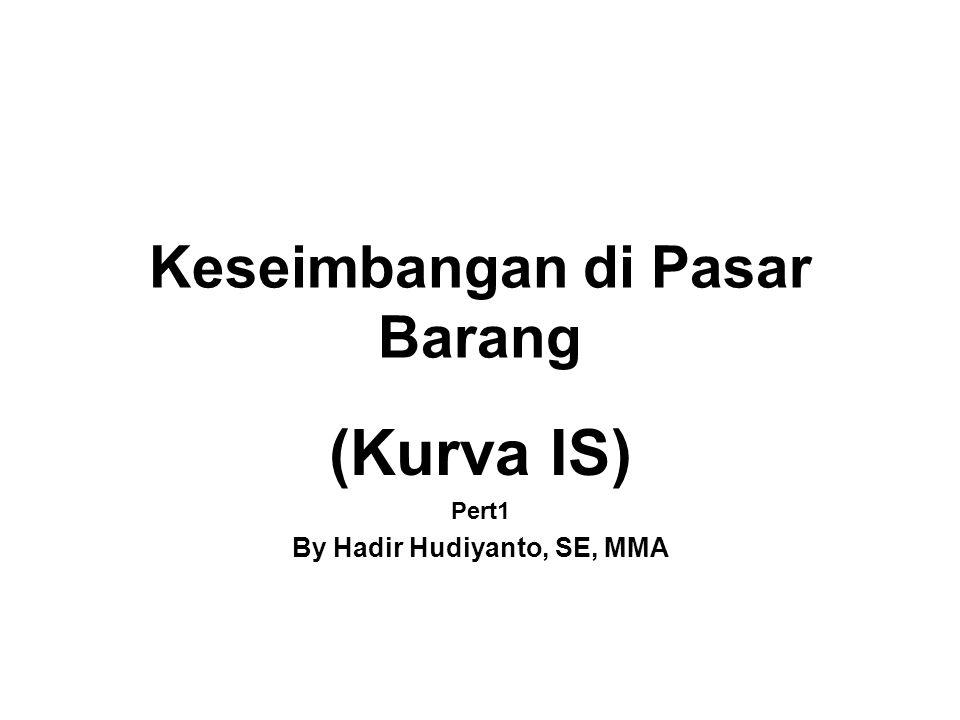 Pasar Barang dan Kurva IS 1.Pasar Barang adalah pasar yang mempertemukan penawaran dan permintaan barang dan jasa.