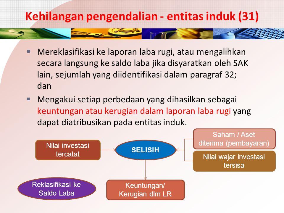 Kehilangan pengendalian - entitas induk (31)  Mereklasifikasi ke laporan laba rugi, atau mengalihkan secara langsung ke saldo laba jika disyaratkan o