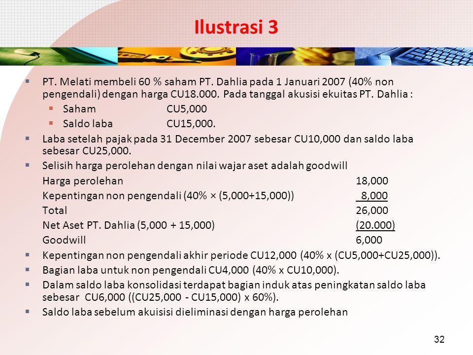Ilustrasi 3  PT. Melati membeli 60 % saham PT. Dahlia pada 1 Januari 2007 (40% non pengendali) dengan harga CU18.000. Pada tanggal akusisi ekuitas PT