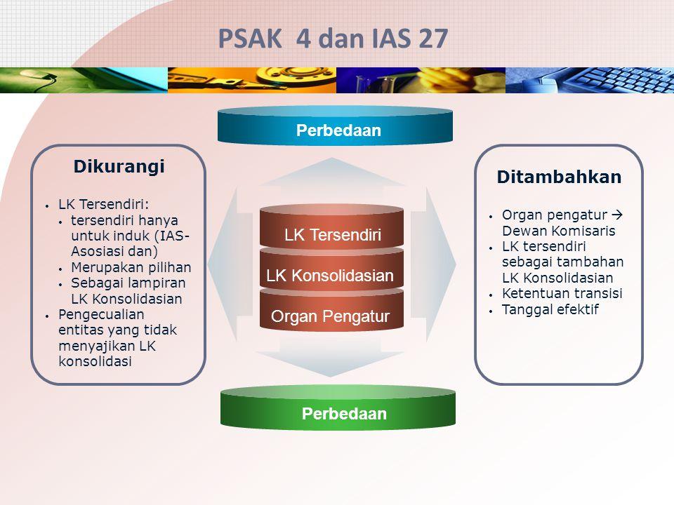 PSAK 4 dan IAS 27 LK Tersendiri LK Konsolidasian Organ Pengatur Dikurangi LK Tersendiri: tersendiri hanya untuk induk (IAS- Asosiasi dan) Merupakan pi