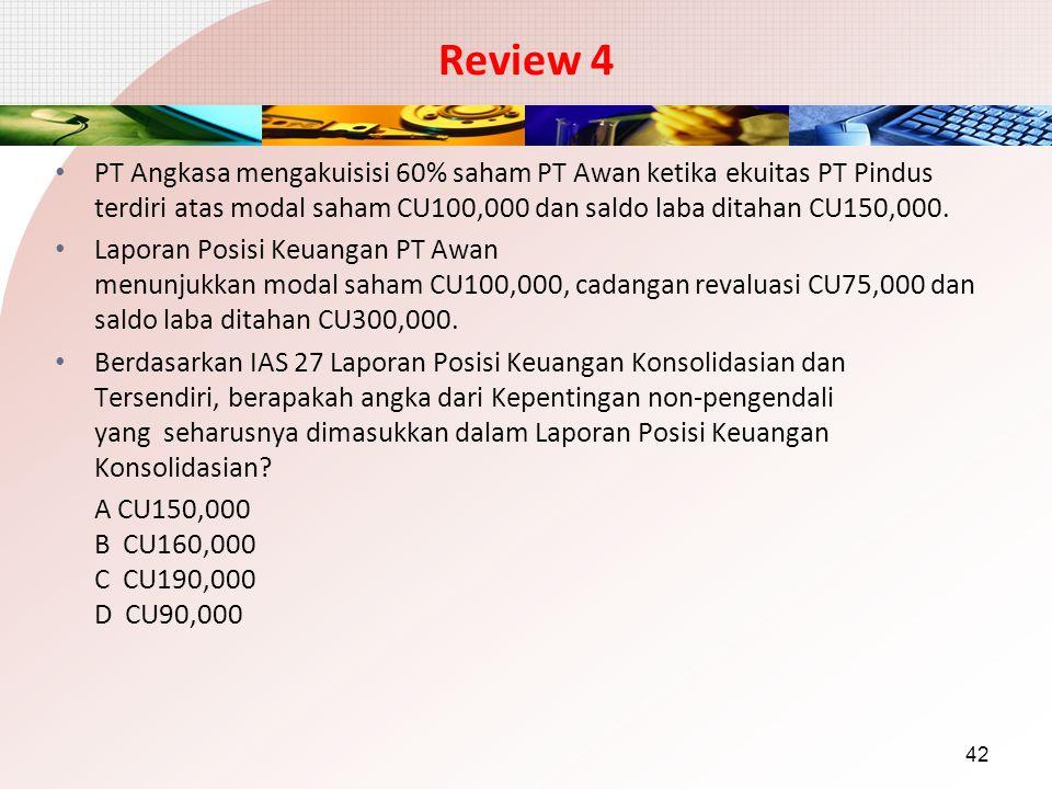 Review 4 PT Angkasa mengakuisisi 60% saham PT Awan ketika ekuitas PT Pindus terdiri atas modal saham CU100,000 dan saldo laba ditahan CU150,000. Lapor