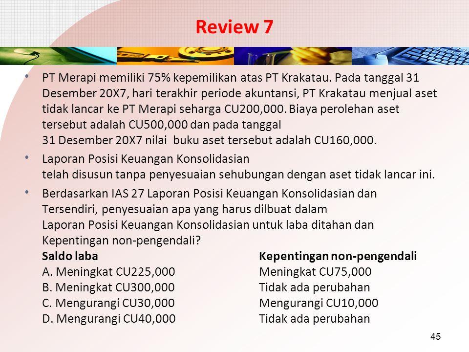 Review 7 PT Merapi memiliki 75% kepemilikan atas PT Krakatau. Pada tanggal 31 Desember 20X7, hari terakhir periode akuntansi, PT Krakatau menjual aset