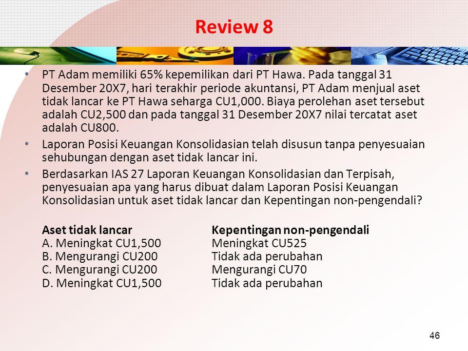 Review 8 PT Adam memiliki 65% kepemilikan dari PT Hawa. Pada tanggal 31 Desember 20X7, hari terakhir periode akuntansi, PT Adam menjual aset tidak lan
