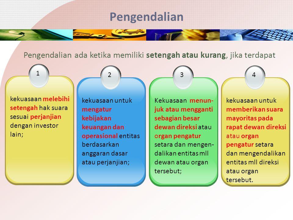 Pengendalian 2 kekuasaan untuk mengatur kebijakan keuangan dan operasional entitas berdasarkan anggaran dasar atau perjanjian; 3 Kekuasaan menun- juk