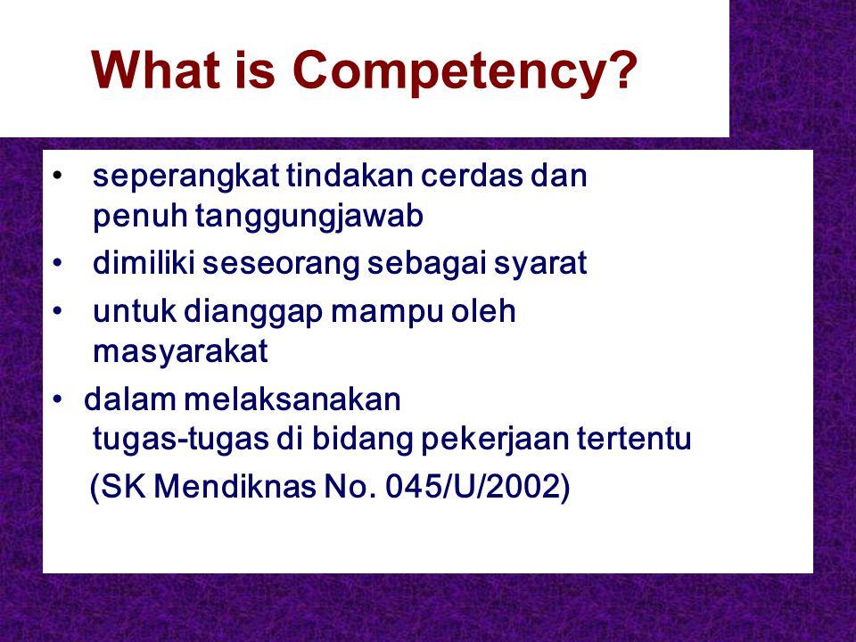 What is Competency? seperangkat tindakan cerdas dan penuh tanggungjawab dimiliki seseorang sebagai syarat untuk dianggap mampu oleh masyarakat dalam m