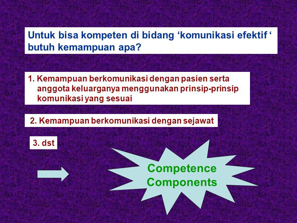 Untuk bisa kompeten di bidang 'komunikasi efektif ' butuh kemampuan apa.