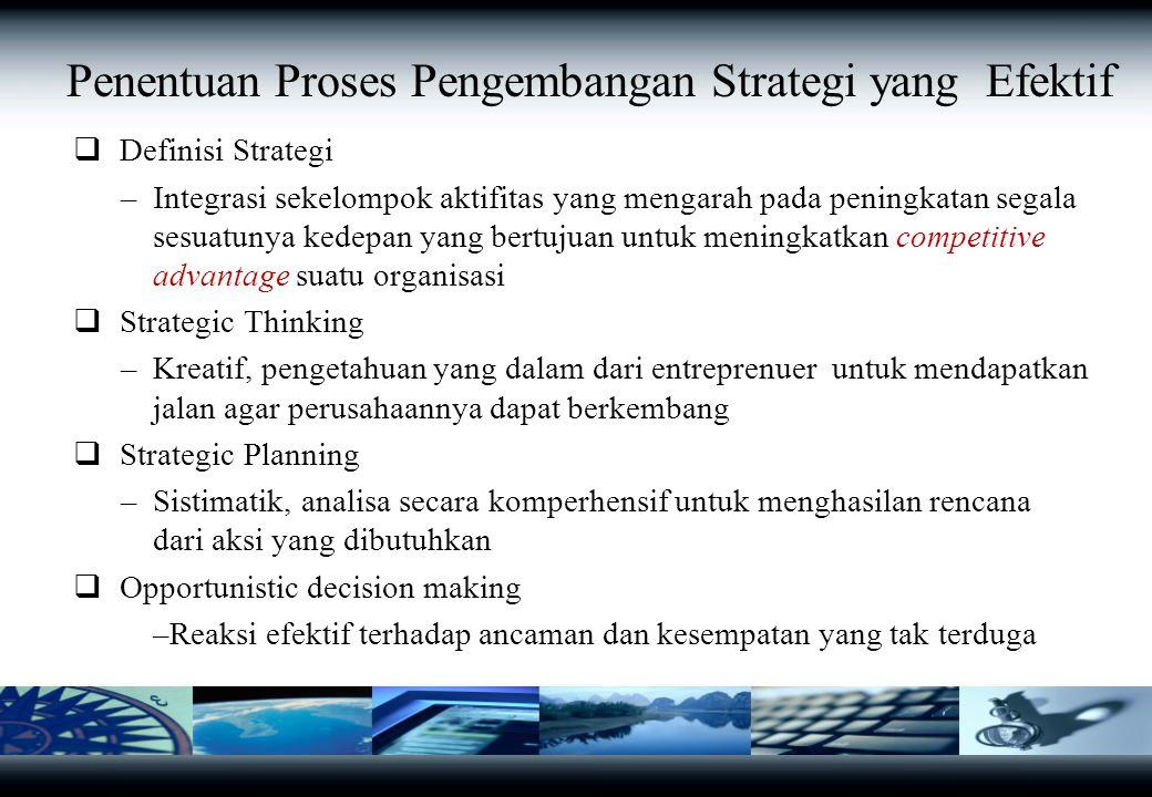 Penentuan Proses Pengembangan Strategi yang Efektif  Definisi Strategi –Integrasi sekelompok aktifitas yang mengarah pada peningkatan segala sesuatunya kedepan yang bertujuan untuk meningkatkan competitive advantage suatu organisasi  Strategic Thinking –Kreatif, pengetahuan yang dalam dari entreprenuer untuk mendapatkan jalan agar perusahaannya dapat berkembang  Strategic Planning –Sistimatik, analisa secara komperhensif untuk menghasilan rencana dari aksi yang dibutuhkan  Opportunistic decision making –Reaksi efektif terhadap ancaman dan kesempatan yang tak terduga