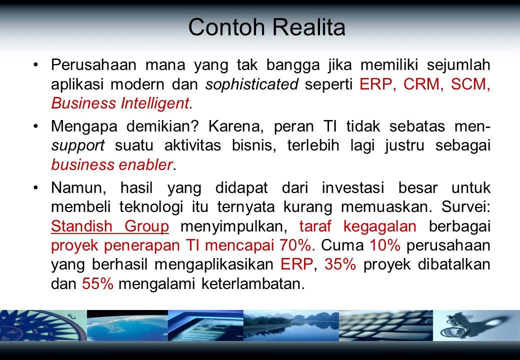 Contoh Realita Perusahaan mana yang tak bangga jika memiliki sejumlah aplikasi modern dan sophisticated seperti ERP, CRM, SCM, Business Intelligent. M