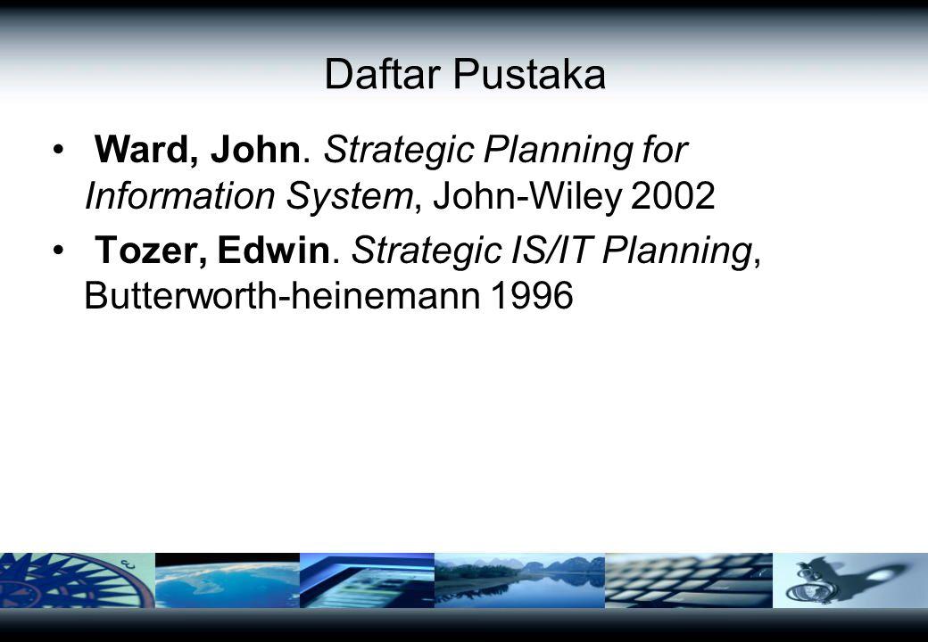 Daftar Pustaka Ward, John. Strategic Planning for Information System, John-Wiley 2002 Tozer, Edwin. Strategic IS/IT Planning, Butterworth-heinemann 19