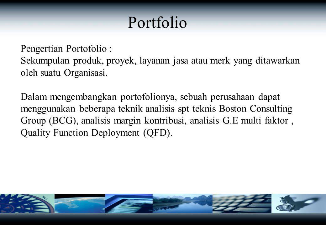 Portfolio Pengertian Portofolio : Sekumpulan produk, proyek, layanan jasa atau merk yang ditawarkan oleh suatu Organisasi. Dalam mengembangkan portofo