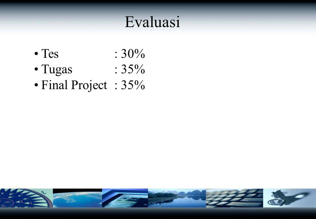 Tes : 30% Tugas : 35% Final Project: 35% % Tugas --> Kelompok Presentasi dan Diskusi Membuat inisialisasi dan rencana strategis SI/TI Evaluasi Tes --> Individu - Pretest dan atau - Postest
