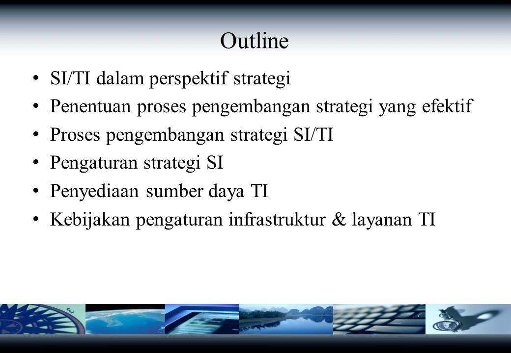 SI/TI dalam Perspektif Strategi Peran IS/IT: Kemampuan teknologi (memusatkan sistem informasi, sumber daya), mendukung pengelolaan data Teknologi memperluas bidang ekonomi (data juga dapat dikelola secara terpusat untuk mencapai skala ekonomi) Pengaplikasiannya mudah, mengefektifkan mengelola informasi Meningkatkan produktivitas Tekanan untuk meningkatkan performance dalam lingkungan industrinya
