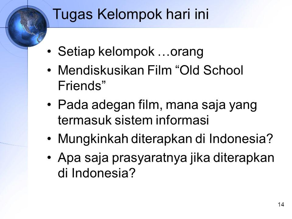 14 Tugas Kelompok hari ini Setiap kelompok …orang Mendiskusikan Film Old School Friends Pada adegan film, mana saja yang termasuk sistem informasi Mungkinkah diterapkan di Indonesia.