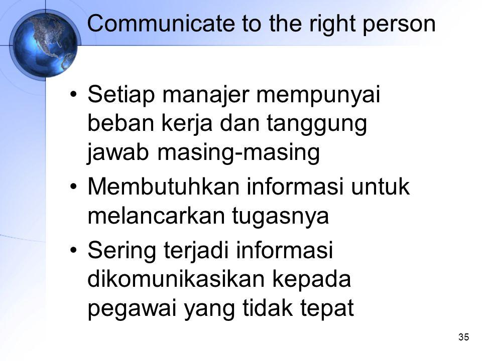 35 Communicate to the right person Setiap manajer mempunyai beban kerja dan tanggung jawab masing-masing Membutuhkan informasi untuk melancarkan tugasnya Sering terjadi informasi dikomunikasikan kepada pegawai yang tidak tepat